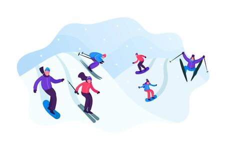 Adult People Dressed in Winter Clothing Skiing and Snowboarding. Male Female Riders Characters Having Fun and Winter Mountain Sports Activity. Resort Sport Spare Time Cartoon Flat Vector Illustration Ilustrace