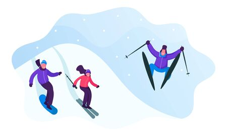 Winter Sports Activity and Spare Time. Young Men and Women Skiing and Snowboarding in Mountains Resort. People Riding Downhills Having Wintertime Fun and Leisure Time. Cartoon Flat Vector Illustration Illustration