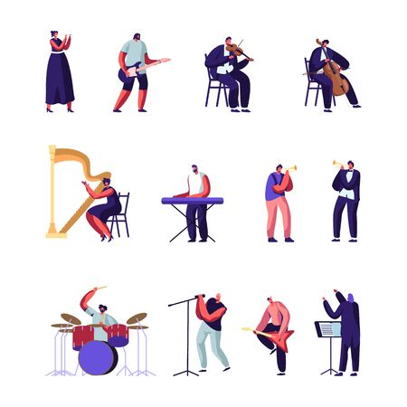 Classical and Popular Music Artists Set. Symphony Orchestra Players, Conductor and Rock Musicians with Different Instruments Performing on Stage Characters Performance Cartoon Flat Vector Illustration
