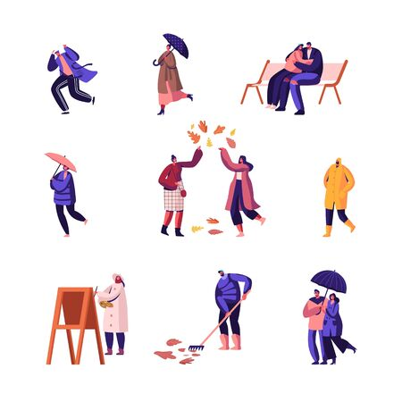 Autumn Season Set. People Walking in City Park Play with Fallen Leaves, Painter Drawing Picture, Young Couple Hugging on Bench, Man Raking Ground, Girl with Umbrella. Cartoon Flat Vector Illustration