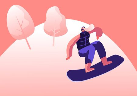 Wintertime Activity and Extreme Outdoors Snowboarding Sport. Young Woman in Warm Sportive Costume Making Stunt Jumping with Snowboard. Sportswoman Training or Relaxing Cartoon Flat Vector Illustration
