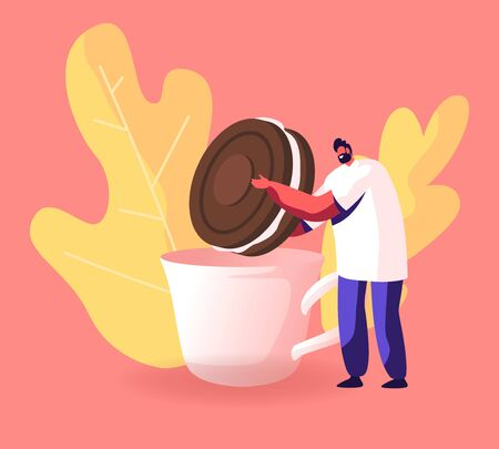 Man Dunking Chocolate Cookie with Cream to Cup with Hot Drink. Tiny Male Character Holding Huge Bakery, Giant Dessert for Birthday or Tea Party Event Celebration. Cartoon Flat Vector Illustration Stock Illustratie