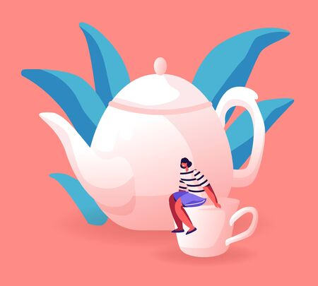 Tiny Woman Sitting on Huge White Porcelain Cup near Teapot. Female Character Serving Table for Tea Party Waiting Friends Coming. Still-life and Hospitality Concept Cartoon Flat Vector Illustration Ilustração