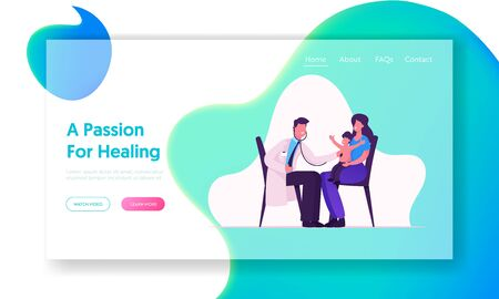 Physician Baby Check Up in Hospital Website Landing Page. Medical Pediatrician Doctor Listen Lung and Heart Sound of Child Patient with Stethoscope Web Page Banner. Cartoon Flat Vector Illustration Stock Illustratie
