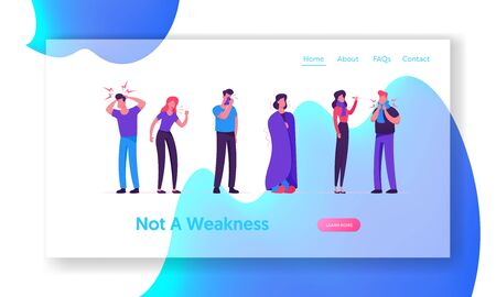 Sick Men and Women Website Landing Page. People with Flue Symptoms. Diseased Characters Need Treatment of Cough and Fever, Virus Illness Diagnosis Web Page Banner. Cartoon Flat Vector Illustration