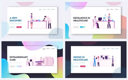 Mri Scanning Procedure, Chemistry Science Laboratory Website Landing Page Set. Magnetic Resonance Imaging Machine with Patient in Hospital, Scientists Web Page Banner. Cartoon Flat Vector Illustration