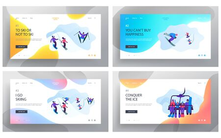Winter Resort Sports Spare Time Website Landing Page Set. Young People Going Downhill by Skis and Skateboards and Lifting Up by Mountain Funicular Web Page Banner. Cartoon Flat Vector Illustration
