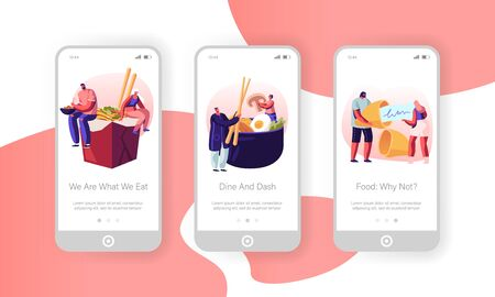 Asian Food Mobile App Page Onboard Screen Set. Tiny Male and Female Characters Eating Noodles in Box, Vegetables and Wish Cookie, Meal Concept for Website or Web Page, Cartoon Flat Vector Illustration Иллюстрация