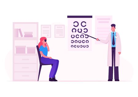 Ophthalmologist Doctor Check Eyesight for Eyeglasses Diopter. Male Oculist with Pointer Checkup Eye Sight. Professional Optician Exam Patient for Treatment Vision Cartoon Flat Vector Illustration