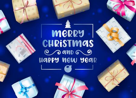 Merry Christmas and Happy New Year Greeting Card or Banner with Creative Typography and Colorful Wrapped Gift Boxes on Blue Blurred Background. Present Postcard. Realistic 3d Vector Illustration