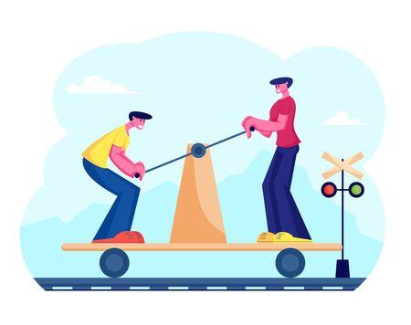 Couple of Men Riding Draisine Handcar Railway Bicycle Transport along Railway Track Trying to Overtake Train. History Railroad Vehicle Maintenance Technology Wheel. Cartoon Flat Vector Illustration