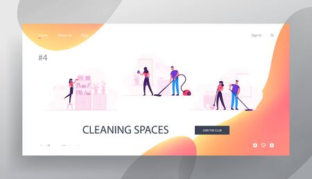 Houseworking Characters Cleaning Home Website Landing Page. Couple Everyday Routine. Home Duties and Chores