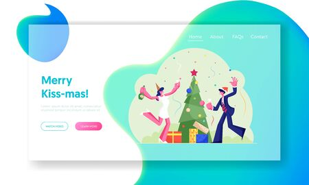 Happy Company of Colleagues or Business People Office Party Website Landing Page. New Year or Christmas Celebration at Work with Decorated Xmas Tree Web Page Banner. Cartoon Flat Vector Illustration