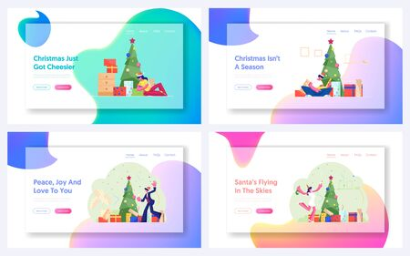 New Year and Christmas Celebration at Home and Office Website Landing Page. Happy People Open Gifts at Fire Tree. Colleagues Dancing at Corporate Party Web Page Banner Cartoon Flat Vector Illustration