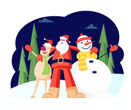 Adorable Christmas Characters Santa Claus Hugging Reindeer and Snowman in Knitted Scarf and Hat Singing Song on Night Snowy Forest Background. Winter Season Holidays Cartoon Flat Vector Illustration