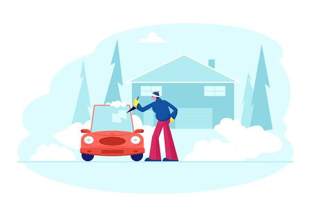 Man Stand at Auto Parked near of Cottage Cleaning Car Window with Spade from Ice and Snow at Winter Time after Night Blizzard. Driver Care of Automobile at House Yard Cartoon Flat Vector Illustration