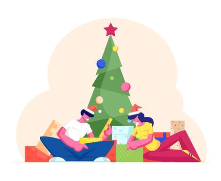 Festive People Characters Celebrate New Year and Christmas Holidays. Man and Woman in Santa Claus Hats Sitting at Decorated Fir Tree Opening Gifts and Making Presents. Cartoon Flat Vector Illustration