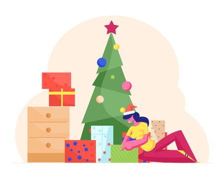 Curious Young Woman Wearing Santa Claus Hat Sitting under Decorated Christmas Tree with Many Gift Boxes around Opening Present. Xmas Holidays Surprise and Tradition. Cartoon Flat Vector Illustration