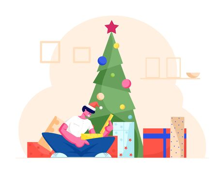 Excited Surprised Man in Santa Claus Hat Opening Gift Box Sitting under Decorated Xmas Tree at Christmas Morning. Winter Festive Season Tradition of Giving Presents, Cartoon Flat Vector Illustration