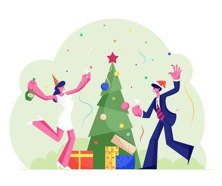 New Year or Christmas Celebration at Work with Champagne, Decorated Xmas Tree, Gifts and Confetti. Happy Company of Colleagues or Business People Fun in Office Party. Cartoon Flat Vector Illustration Illustration