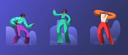 Gruppo di giovani felici negli anni '70 anni '80 Stile di moda di vestiti e acconciatura Dancing Disco Dance. Uomini e donne alla moda ballano alla festa in discoteca retrò nel night club. Cartoon piatto illustrazione vettoriale Vettoriali