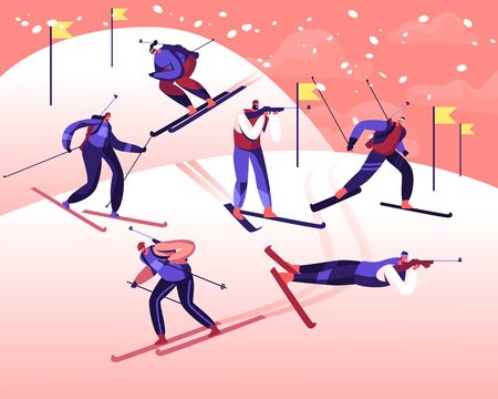 Biathlon Tournament Competition. Male and Female Characters on Rout Skiing and Shooting by Targets. Games Championship Sportsmen Sportswomen on Track Cartoon Flat Vector Illustration