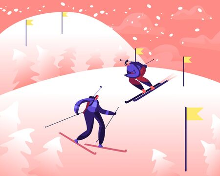 Sportswomen with Rifles on Back Compete at Games or Tournament. Participants Skiing Downhills at Biathlon Race Route with Flags Marks. Winter Sport Cartoon Flat Vector Illustration