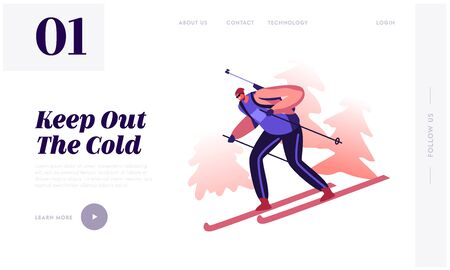 Sportsman Skier Cross at Winter Season Biathlon Tournament Website Landing Page. Professional Shooter Compete or Training Take Part in Games Web Page Banner. Cartoon Flat Vector Illustration