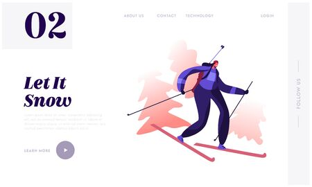 Winter Sport and Healthy Lifestyle Website Landing Page. Happy Biathlete woman Riding Skis with Rifle on Back Taking Part in Biathlon Competition Web Page Banner. Cartoon Flat Vector Illustration