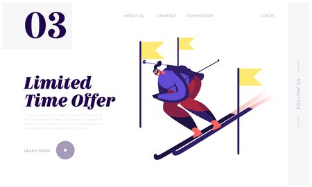 Sportsman Skiing Downhill during Biathlon Competition Website Landing Page. Skier Sport Activity Lifestyle at Mountain with Snow and Cold Weather Web Page Banner. Cartoon Flat Vector Illustration Ilustrace