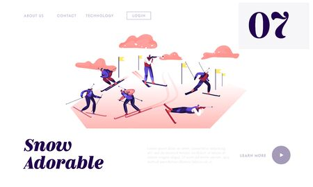 Biathlon Competition Website Landing Page. Competitors Standing on Shooting Range Aiming to Target, Shooting Hunting and Riding Skis on Rout with Flags Web Page Banner Cartoon Flat Vector Illustration Иллюстрация