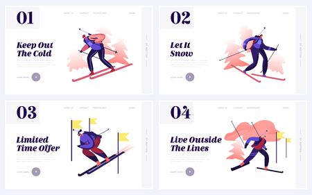 Biathlon Tournament Website Landing Page. Sportsmen Competing Riding Skis and Shooting at Competition. Winter Sport Discipline Championship Web Page Banner. Cartoon Flat Vector Illustration
