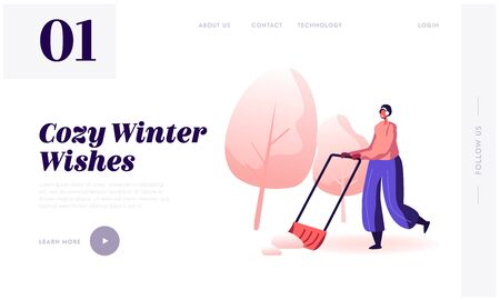 Christmas Holidays Activity and Outdoors Work Website Landing Page. Hardworking Woman Cleaning Road from Snow with Big Shovel after Winter Snowfall Web Page Banner. Cartoon Flat Vector Illustration