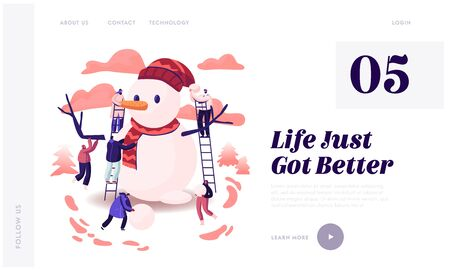 Christmas Holiday Season Website Landing Page. Tiny Male and Female Characters Playing on Winter Day Making Funny Snowman Standing on Ladders at Street Web Page Banner Cartoon Flat Vector Illustration Иллюстрация