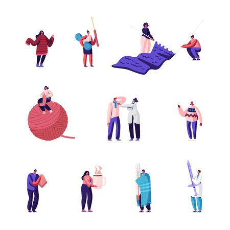 Knitting Hobby, Sickness Concept Set. Girls with Knitting Needles and Clew Knit Warm Clothes. Sick People with Flu Symptoms Visit Doctors in Hospital for Treatment Cartoon Flat Vector Illustration
