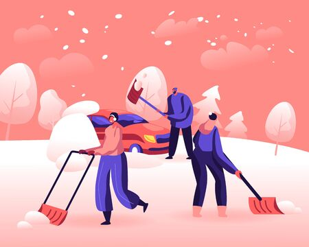 Snow and Ice Removal after Blizzard Concept. Cheerful People Remove Snowdrifts with Shovels from Ground Cleaning Backyard Area and Car from Snow. Wintertime Activity Cartoon Flat Vector Illustration