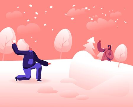 Happy Young Couple Playing Snowballs Fight on Snowy Winter Landscape Outdoors Background. Girl Hiding behind of Ice Fortress Aiming with Snow Ball to Cheerful Man Cartoon Flat Vector Illustration Ilustração