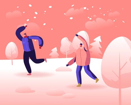 Winter Season Fun and Outdoor Leisure, Active Games on Street. Happy Cheerful Men Playing Snowballs on Snowy Landscape Background. Friends Relaxing, Active Spare Time. Cartoon Flat Vector Illustration Vettoriali