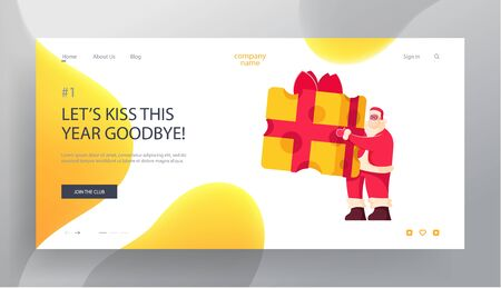 Christmas Party Website Landing Page. Cheerful Santa Claus Character Wearing Red Costume and Hat Holding Huge Piece of Cheese Wrapped with Red Bow Web Page Banner. Cartoon Flat Vector Illustration Illustration