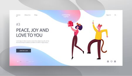 Joyful Friends or Colleagues Celebrating New Year 2020 Website Landing Page. Happy Business Man and Woman in Funny Mouse Costumes Having Office Party Web Page Banner. Cartoon Flat Vector Illustration