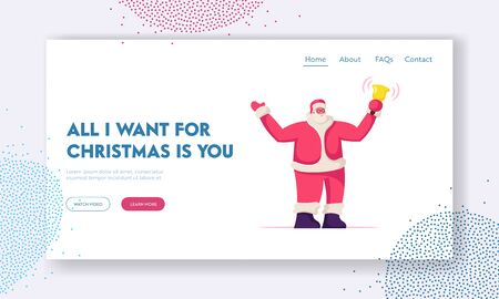 Christmas Personage Website Landing Page. Kind Santa Claus Character in Red Costume and Hat Ringing Jingle Bell. Xmas and New Year Season Greetings Web Page Banner. Cartoon Flat Vector Illustration
