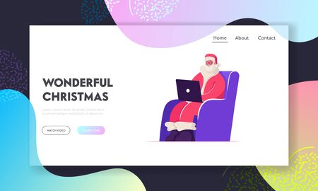 Merry Xmas Website Landing Page. Smiling Santa Claus in Red Costume Sitting in Armchair with Laptop in Hands Reading Messages and Letters from Children Web Page Banner Cartoon Flat Vector Illustration