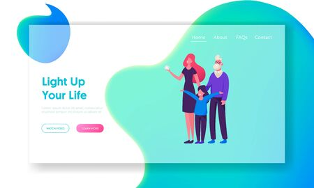 Happy Family Celebration Website Landing Page. Mother, Grandfather and Little Daughter Stand Together Smiling and Rejoice Meeting Winter Holidays Web Page Banner. Cartoon Flat Vector Illustration