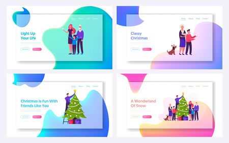 Young and Senior Generation Celebrate Winter Holidays Party Website Landing Page. Father Mother Children and Grandparents Decorating Fit Tree at Home Web Page Banner. Cartoon Flat Vector Illustration