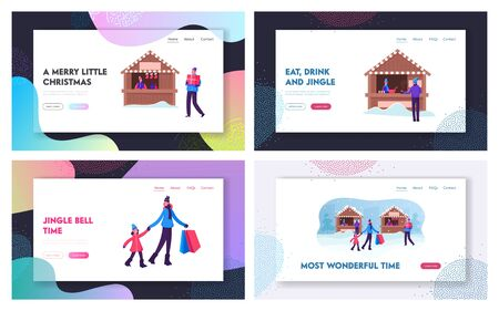 Winter Season Holidays and Fair Sale Website Landing Page Set. Happy Walking, Buying Gifts for Christmas and New Year Celebration, Drinking Hot Drinks Web Page Banner. Cartoon Flat Vector Illustration