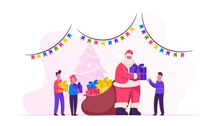 Santa Claus Character Giving Gifts to Happy Children on School or Kindergarten Matinee Standing in Room with Christmas and New Year Decoration. Santa Greeting Kids. Cartoon Flat Vector Illustration