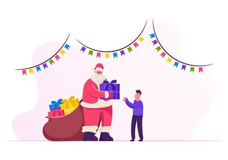 Friendly Santa Claus in Red Costume with Big Sack of Presents Visiting Little Boy at Christmas Night for Giving Gift. Schoolboy Get Present at Xmas Party Celebration Cartoon Flat Vector Illustration Иллюстрация