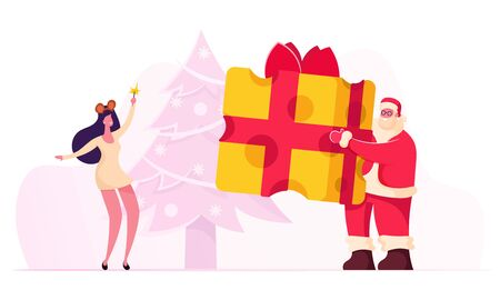 Christmas Party Cheerful Santa Claus Character Wearing Red Costume and Hat Holding Huge Piece of Cheese Wrapped with Red Bow Presenting it to Woman Wearing Mouse Dress Cartoon Flat Vector Illustration