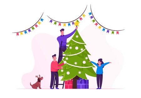Happy Family Decorate Christmas Tree. Father Put Star on Top of Fir Tree, Daughter Son and Dog in Reindeer Hat Helping. People Celebrating New Year and Xmas at Home. Cartoon Flat Vector Illustration Ilustração