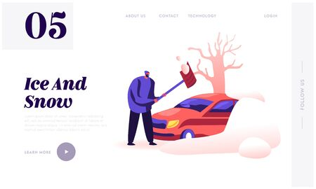 City After Blizzard Website Landing Page. Man with Shovel Cleaning Snow Filled Backyard Outside his Car Covered with Snowdrift. Winter Time Weather Web Page Banner. Cartoon Flat Vector Illustration